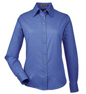 Harriton Ladies' Long-Sleeve Twill Shirt with Stain-Release