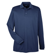 UltraClub Men's Cool and Dry Long Sleeve Mesh Pique Polo